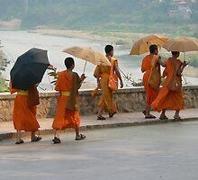 Buddhist novices in Louang Phabang by jmccabephoto