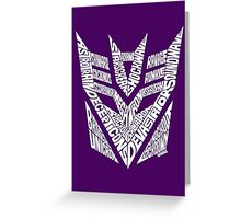 Transformers Decepticons White Greeting Card