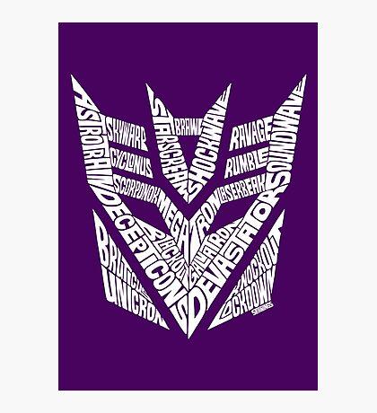 Transformers Decepticons White Photographic Print