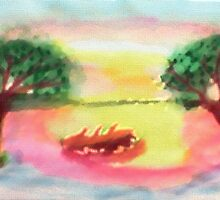 Lovely morning sunrise,  finished, watercolor by Anna  Lewis