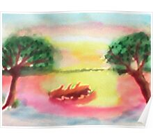 Lovely morning sunrise,  finished, watercolor Poster