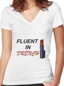 Fluent in French Women's Fitted V-Neck T-Shirt