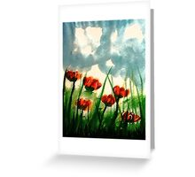 Pink Poppies on a cloudy day, watercolor Greeting Card