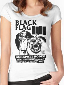 Retro Punk Restyling   - Black Flag wolf Women's Fitted Scoop T-Shirt