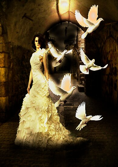 Girl with white Doves by Andrew (ark photograhy art)