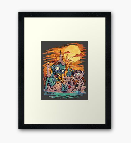 Zombie At The Beach  Framed Print
