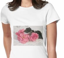 Pink Begonias And Their Leaves Womens Fitted T-Shirt