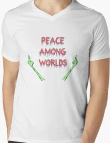 Peace Among Worlds, Rick and Morty inspired Mens V-Neck T-Shirt