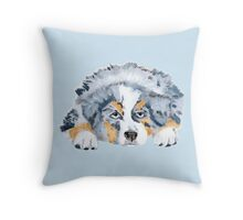 Australian Shepherd Blue Merle Puppy Throw Pillow