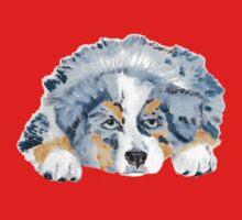 Australian Shepherd Blue Merle Puppy One Piece - Short Sleeve