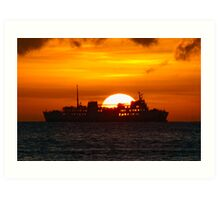 Ocean Liner at sunset Art Print