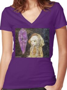 The Dark Crystal - Kira Water Color + Mixed Media Women's Fitted V-Neck T-Shirt