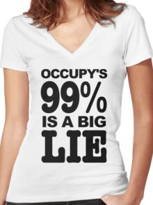 Occupy's 99% Is A Big Lie Women's Fitted V-Neck T-Shirt