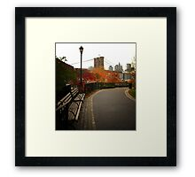 Autumn Overlooking the Brooklyn Bridge - New York City Framed Print