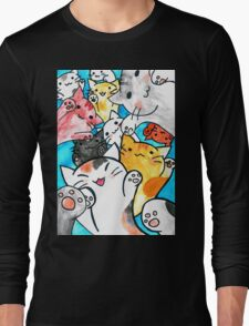 Manga cats conquer the world Long Sleeve T-Shirt