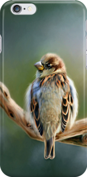 English Sparrow - Designer iPhone 4-4S Case by Renee Dawson