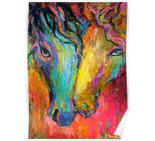 Vibrant Impressionistic Horses painting Poster