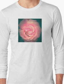 Pink with Teal Rose Long Sleeve T-Shirt