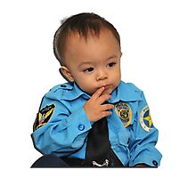 Policeman Ponder Photographic Print