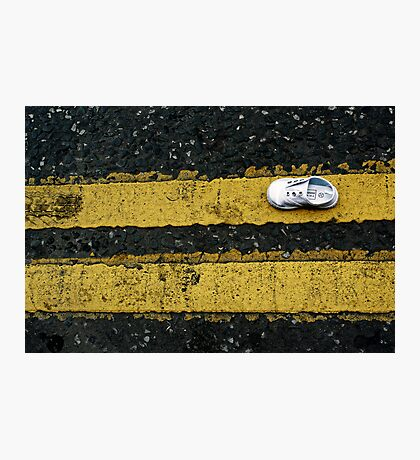 Little lost shoe on double yellow lines Photographic Print
