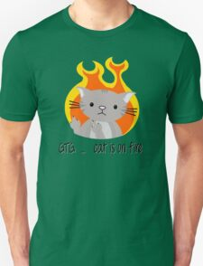 Nerd cat on fire Unisex T-Shirt