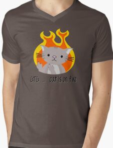Nerd cat on fire Mens V-Neck T-Shirt