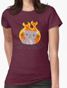 Nerd cat on fire Womens Fitted T-Shirt