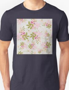 Floral pattern, pink flowers, green leaves, dove grey T-Shirt