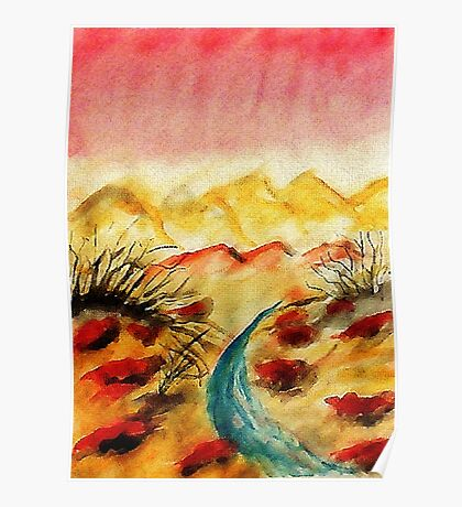 A little flash flood in desert, watercolor Poster