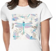 Vintage Botanicals collection turquoise and lavender dragonflies Womens Fitted T-Shirt