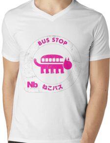 nekobus pink Mens V-Neck T-Shirt