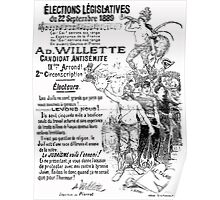 1889 French election poster for antisemitic candidate Adolphe Willette Poster