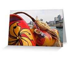 a traditional Dutch shoe on not such a traditional trip to Hong Kong Greeting Card