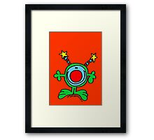 Green Doodle Dude on Orange Red Framed Print