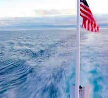 Stern Flag on Ship by Derek Lowe