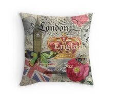 Travel London England Vintage British Gift Europe  Throw Pillow