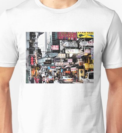busy streets of Hong Kong, it's loud, it's colourful, it's life Unisex T-Shirt