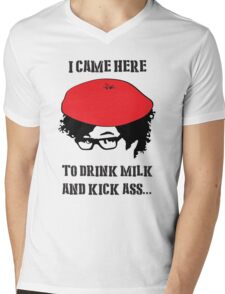 Drink Milk and Kick Ass !  Mens V-Neck T-Shirt