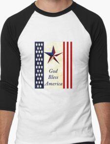 """""""God Bless America"""" Men's Baseball ¾ T-Shirt"""