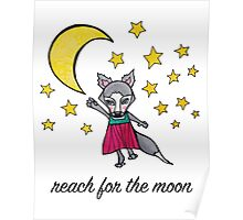 Reach for the Moon: Cute Whimsical Wolf Moon Drawing Poster