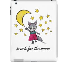 Reach for the Moon: Cute Whimsical Wolf Moon Drawing iPad Case/Skin