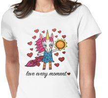 Love Every Moment: Cute Whimsical Unicorn Drawing Womens Fitted T-Shirt