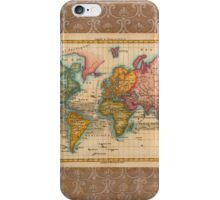 World Map 1700s Antique Vintage Hemisphere Continents Geography iPhone Case/Skin