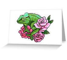 Chameleon with Roses Greeting Card