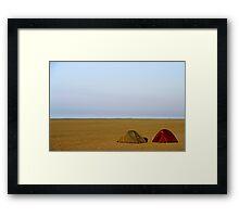 Tents on beach Framed Print