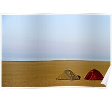 Tents on beach Poster