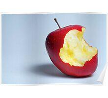 Half eaten red apple Poster