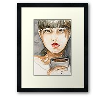 Random Watercolor Sketch of Girl Drinking Coffee Framed Print