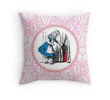 Alice in Wonderland | Alice, with Key in Hand, Pulls Back the Curtain to Find the Door to Wonderland  Throw Pillow