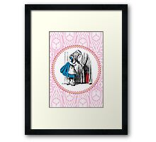 Alice in Wonderland | Alice, with Key in Hand, Pulls Back the Curtain to Find the Door to Wonderland  Framed Print